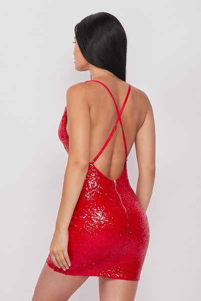 Red Sequin Open Back Draped Body-con Dress