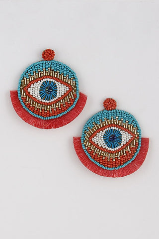 Turquoise All Seeing Eye Tassel Earrings