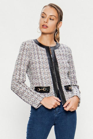 Tweed Style Boucle Blazer Jacket