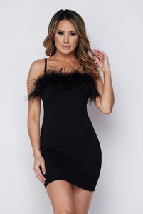 Black Feather Detail Fitted Dress
