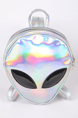 Silver Alien Inspired Flashy Backpack