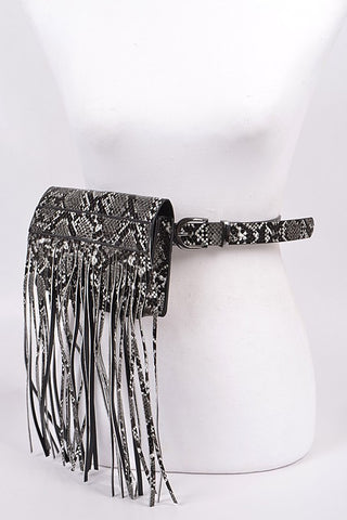 Black and White Snakeskin Curtain Fanny Pack