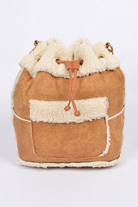 Camel Faux Sheep Wool Backpack
