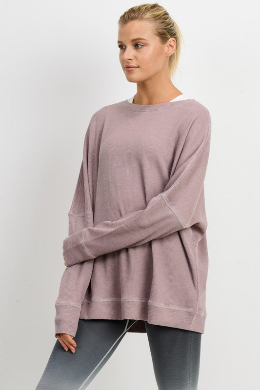 Dusty Pink Waffle Ribbed Pullover Shirt