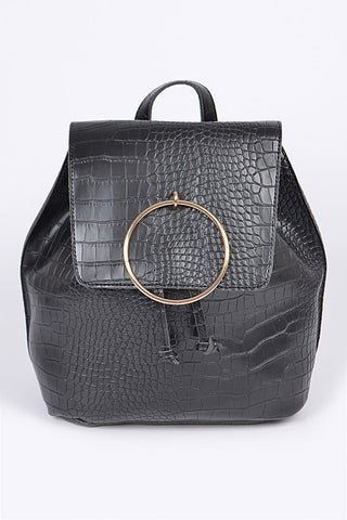 Black Snakeskin Ringed Backpack