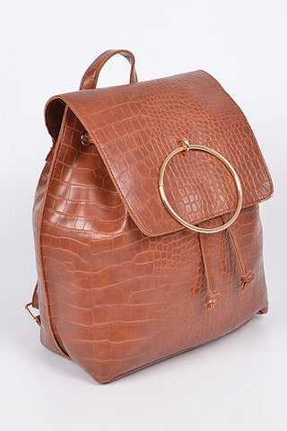 Brown Snakeskin Ringed Backpack