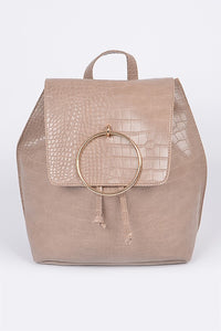 Khaki Snakeskin Ringed Backpack