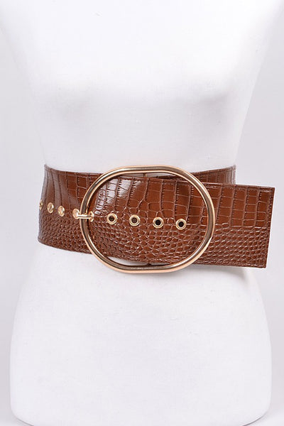 Black Thick Snakeskin Waist Belt