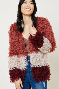 Burgundy Shaggy Knit Sweater Coat