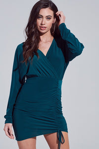 Hunter Green Ruched Tie Wrap Dress