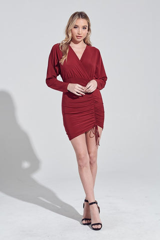 Burgundy Ruched Tie Wrap Dress
