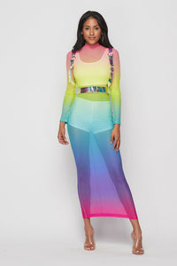 Blue Rainbow Mesh Dress Set