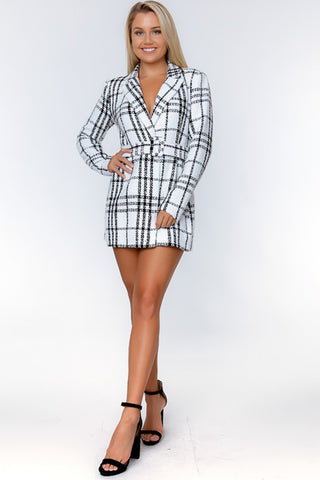 White Plaid Woven Blazer Dress