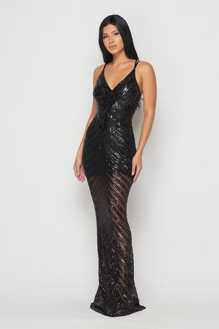 Black Sleeveless Sequin Maxi Dress