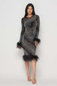 Black Rhinestone Feather Body-con Dress