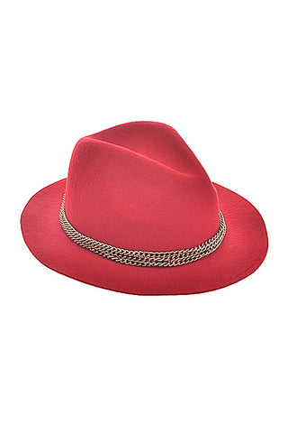 Red Chain Detail Fedora Hat