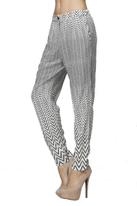 Black and Off White Striped Print Pants - Nofashiondeadlines