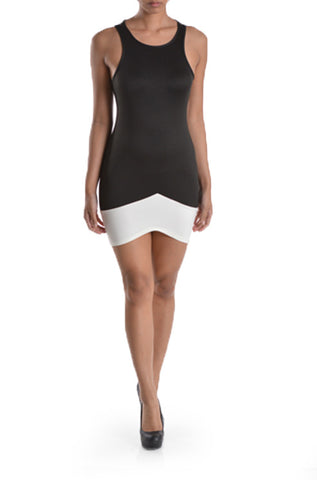 Black Contrast Hem Body-con Dress - Nofashiondeadlines