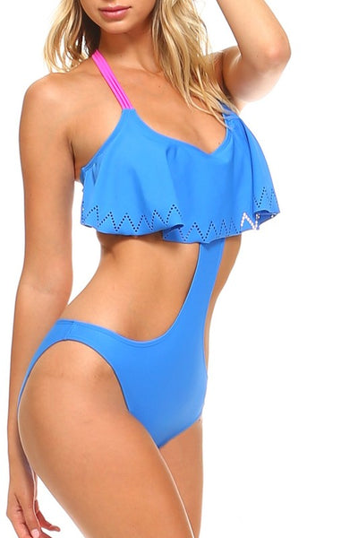 Blue Braided Detail Monokini Swimsuit - Nofashiondeadlines