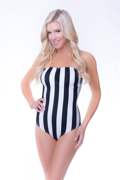 Black and White Striped Strapless Swimsuit