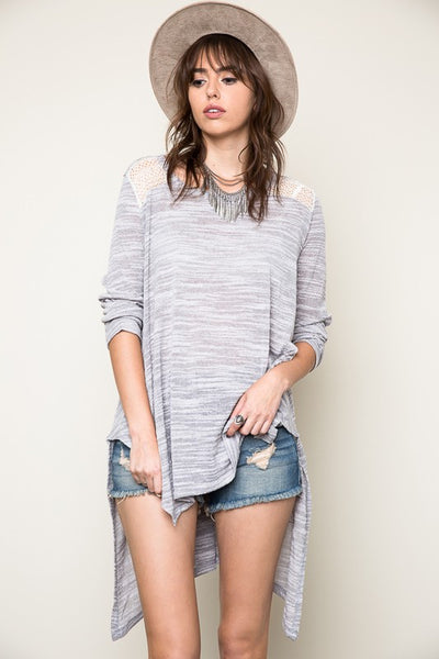 Light Weight Lace Style Insert Sweater - Nofashiondeadlines