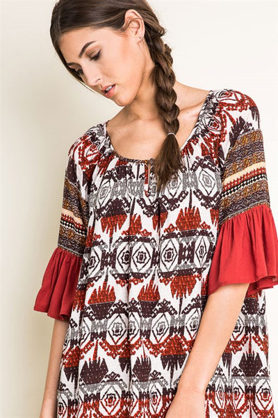 Printed Mini Flare Sleeve Boho Dress - Nofashiondeadlines