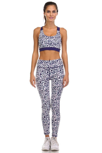 Spotted Print Twisted Back Sports Bra