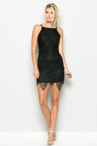 Black Lace Cross Back Dress - Nofashiondeadlines