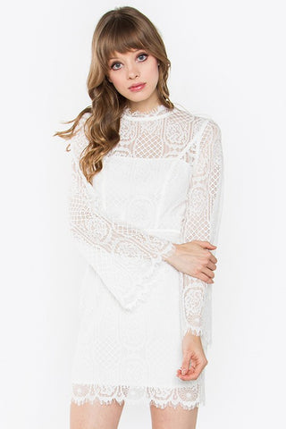 White Scalloped Lace Long Sleeve Body-con Dress