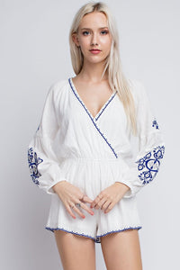 White Long Sleeve Embroidery Detail Romper