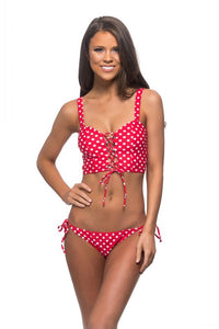 Red Polka Dot Laced Front Bikini Swimsuit - Nofashiondeadlines