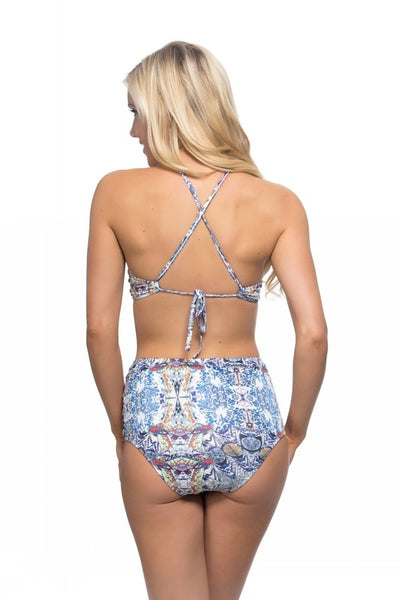 Printed High Waist and Neckline Strappy Side Bikini Swimsuit - Nofashiondeadlines