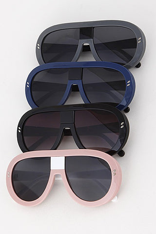 Sporty Style Tick Frame Sunglasses