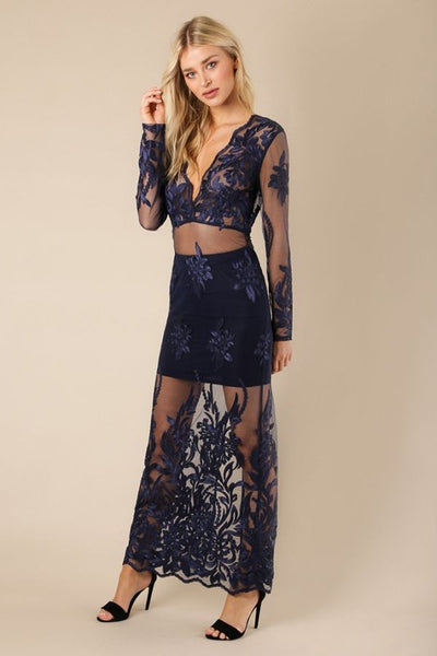 Dark Blue Scallop Lace Embroidered Maxi - Nofashiondeadlines