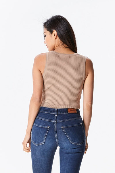 Button Front Sleeveless Crop Top - Nofashiondeadlines