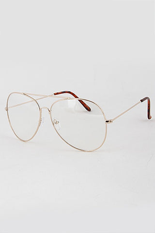 Clear Gold Frame Large Nerd Frame Aviators Glasses - Nofashiondeadlines