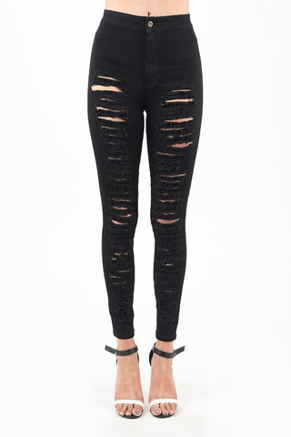 Black Destroyed High Rise Skinny Jeans - Nofashiondeadlines