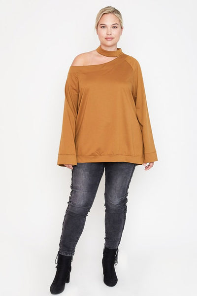 Plus Size Off Shoulder Choker Sweater