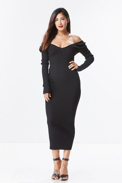 Black Off The Shoulder Knit Midi Dress - Nofashiondeadlines