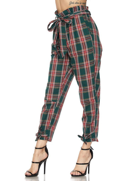 Green Plaid Print Pants - Nofashiondeadlines