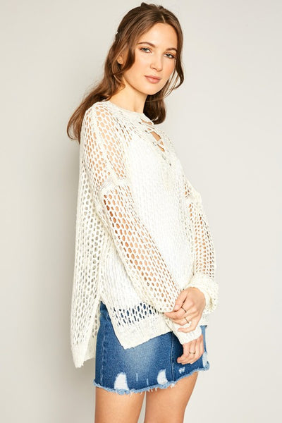 Lace Up Crochet Sweater - Nofashiondeadlines