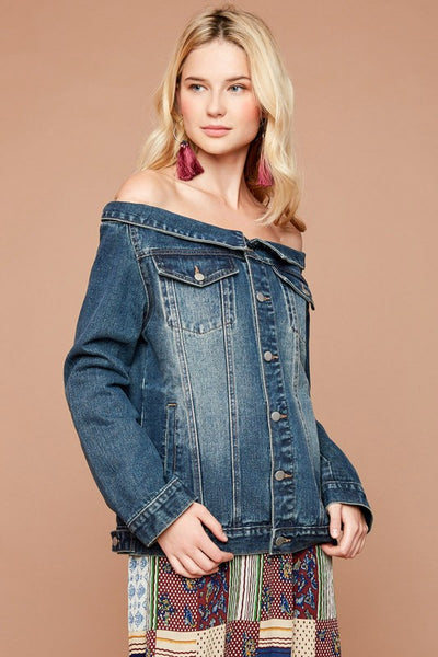 Off The Shoulder Denim Jacket - Nofashiondeadlines