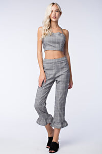 Plaid Print Ruffle Hem Pants