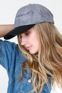 Grey Suede and Faux Leather Baseball Cap