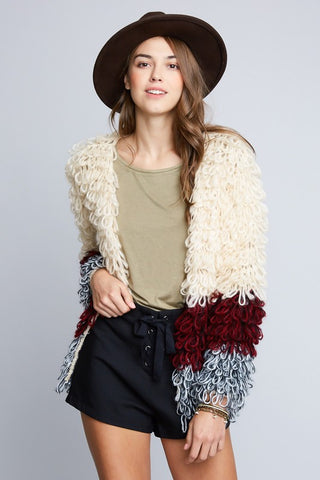 Ivory Shaggy Knit Sweater Coat