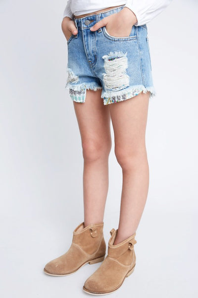 Girls Sequin Pocket Denim Shorts
