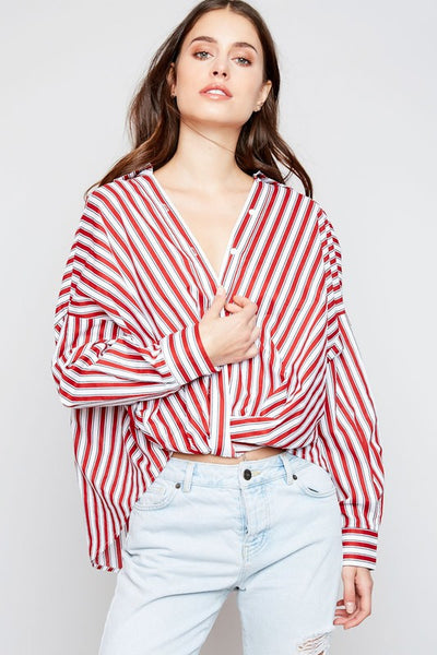 Burnt Orange Vertical Striped Button Down Bat Wing Blouse
