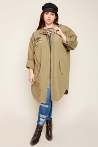 Plus Size Utility Jacket with Back Patch Detail