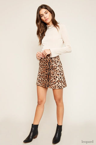 Leopard Print Lace Up Skirt