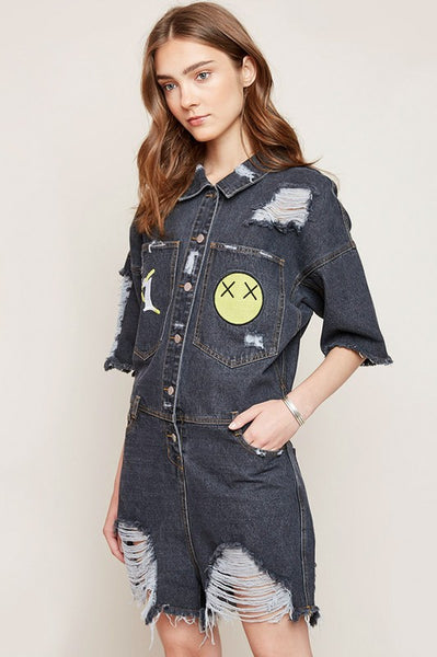 Distressed Denim Romper With Patches - Nofashiondeadlines